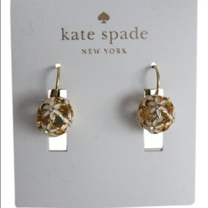 Kate spade white and gold floral earrings